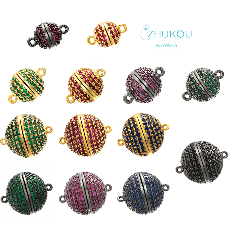 ZHUKOU 8/10/12/14/16mm Handmade Brass Cubic Zirconia round Connector Diy Jewelry Findings Model: VZ207(China)