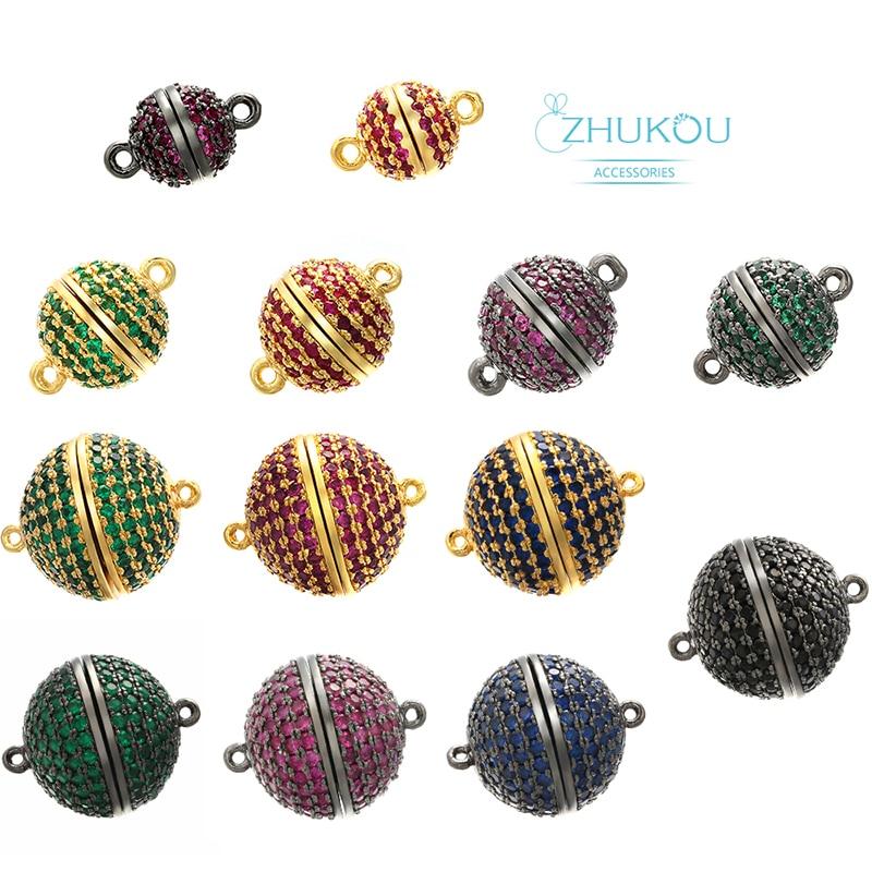 ZHUKOU 8/10/12/14/16mm Handmade Brass Cubic Zirconia Round Connector Diy Jewelry Findings Model: VZ207