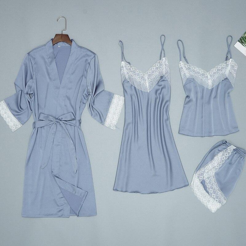 Dame maison porter pyjamas 4 PC sangle Top pantalon costume ensembles de vêtements de nuit femme chemise de nuit Sexy Kimono sommeil Robe de bain chemise de nuit