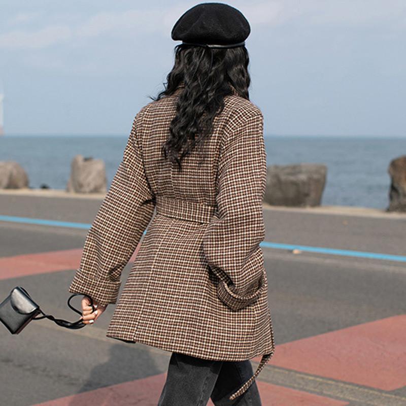 Laine Automne Printemps Manteaux Manches Revers Élégant L05 coffee Plaid Mince Longues Mélange Pardessus Femmes De Khaki Femelle Dames Décontracté 2019 cn1WRqB