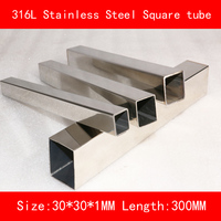 316L Stainless steel square tube length of side 30*30mm Wall thickness 1mm Length 300mm