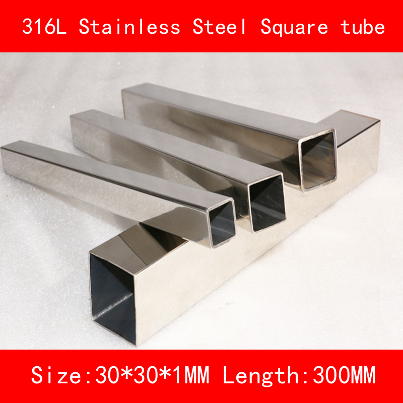 316L Stainless steel square tube length of side 30*30mm Wall thickness 1mm Length 300mm include nickel 304 stainless steel pipe tube outer diameter 20mm wall thickness 1 5mm length 200mm