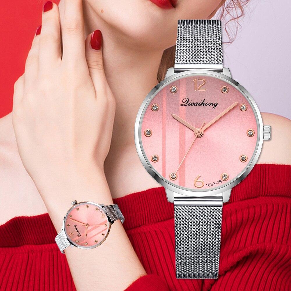 Watches For Women Luxury Silver Popular Pink Dial Creative Metal Ladies Bracelet Quartz Clock Ladies Wrist Watch 2018 New