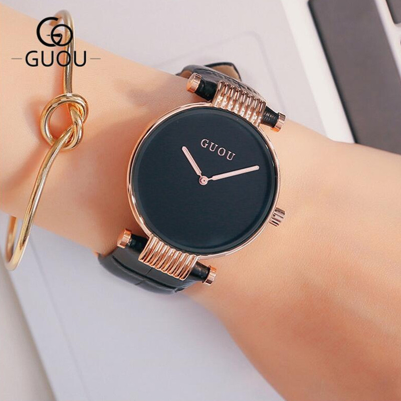 GUOU Brand Leather Analog Watch Women Fashion Casual Quartz Watches Ladies Datejust Wristwatch Hodinky Ceasuri relogio feminino women fashion watches rose gold rhinestone leather strap ladies watch analog quartz wristwatch clocks hour gift relogio feminino