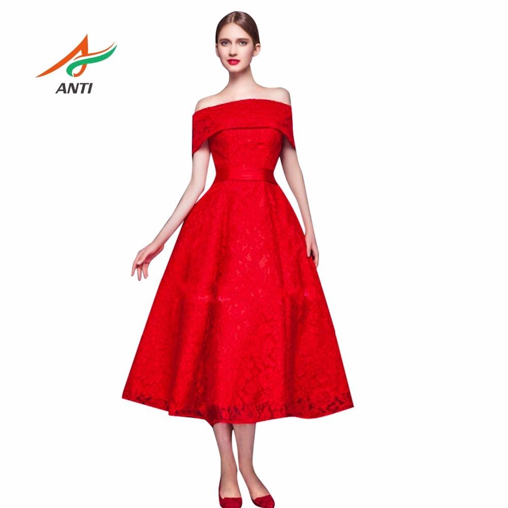 ANTI 2018 Rot Formale Abendkleid Spitze Elegantes Kleid Party Boot-ausschnitt Vestido De Festa Longo Brautkleider Nach Maß HQY3561