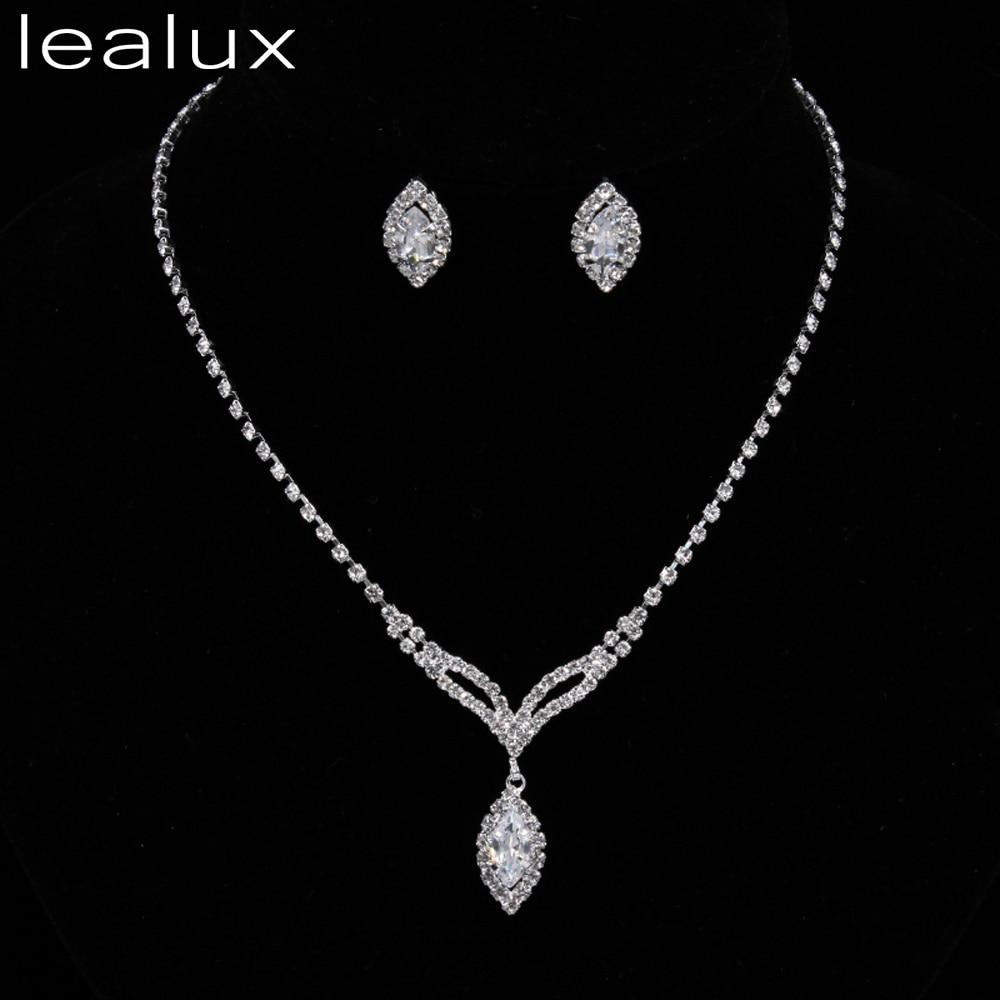 Lealux Necklace Earrings Crystal Collier Mariage Choker Costume Jewelry  Charm Silver Bridal Bijoux Juwelen Sets For