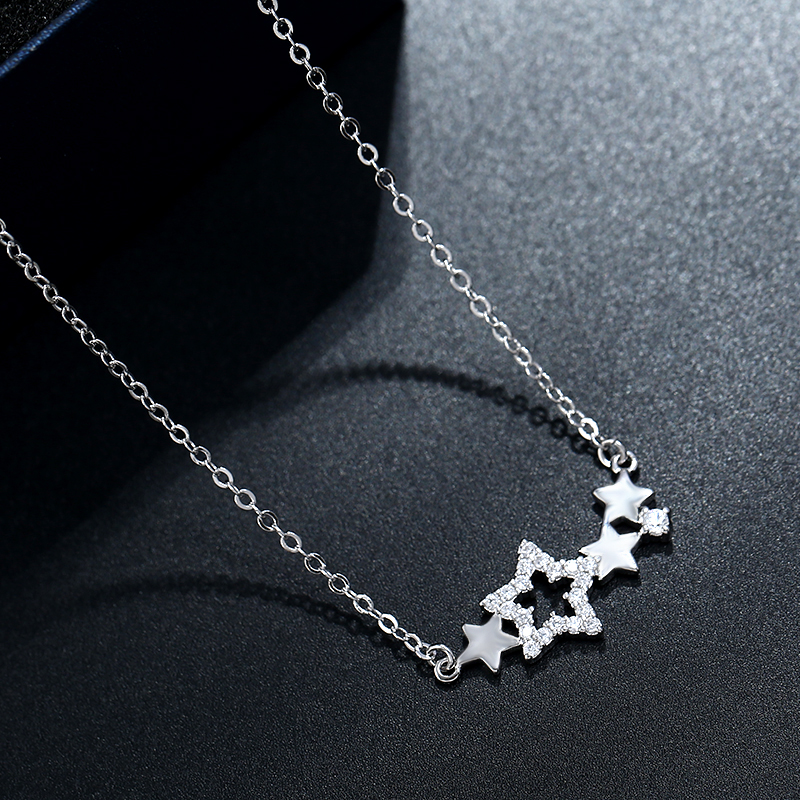 925 Sterling Silver Necklace Pendant For Women Star Pendant New Fashion Trendy Charm Chain Adjustable Choker Girls Gift Jewelry