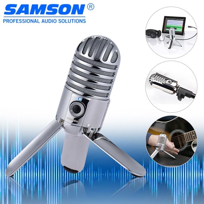 100 Original Samson Meteor Mic Studio Desktop Recording Condenser Microphone Fold Back Legs Design For Computer