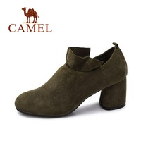 Camel Women S 2017 Autumn New Elegant Kid Suede Square Toe Chunky Heels Shoes A73843657