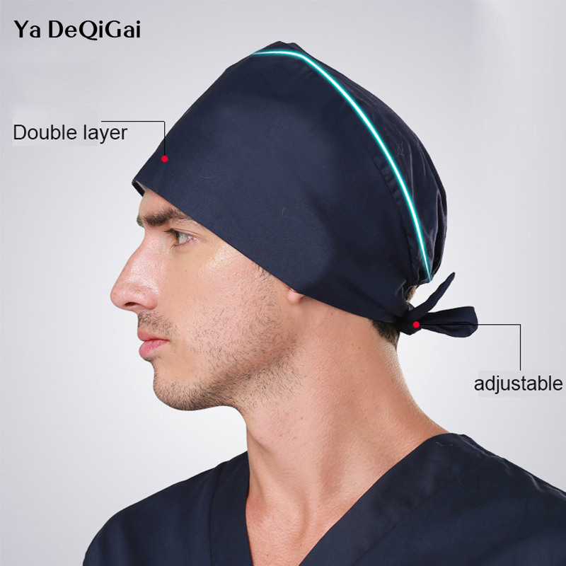 Operating Room Solid Color Hat Men And Women Doctors Working Caps Adjustable Nurse Caps Turbans Surgical Hats Health Work Cap
