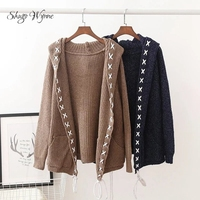 Shugo Wynne Mori Girl 2017 Autumn New Women Vintage Hooded Loose Knitted Sweater Lace Up Long