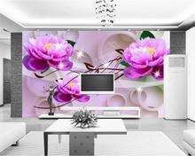 купить beibehang Big painter decorative painting 3D pink lotus 3D dream TV backdrop papel de parede wallpaper for walls 3 d wall paper дешево