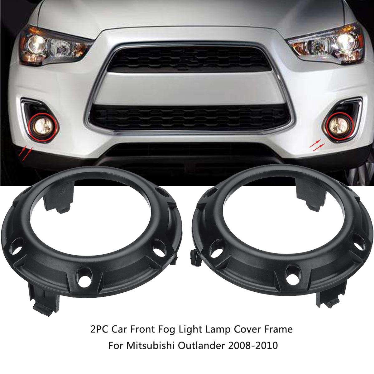 Pair Car Front Fog Light Lamp Cover Frame Black ABS Shell