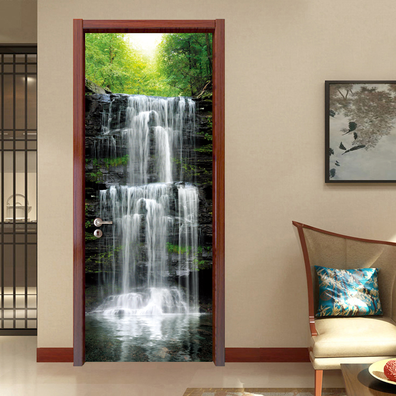 Waterfall Scenery Wall Painting PVC Wall Mural Stickers DIY Living Room Bedroom Waterproof Door Wall Papers Home Decor Modern 3D цены онлайн