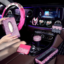 Pink Crystal Car Steering Wheel Covers for Girls Ladies Accessories Bling Rhinestone Ashtray Interior Decoration