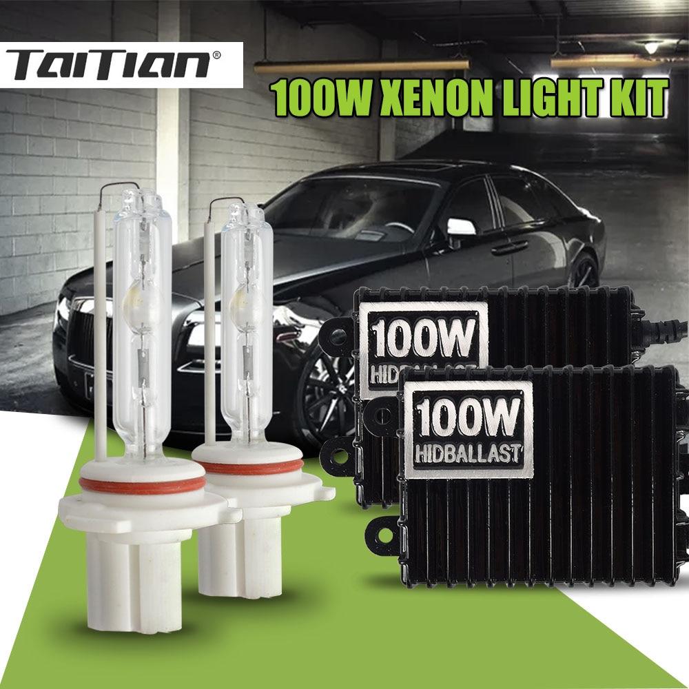 цена на Taitian 2Pcs 12V 100W bulb h11 Hid Xenon ballast lights 8000K 6000K Canbus Xenon h7 h1 h4 bi-xenon H3 light 9005 HB3 9006