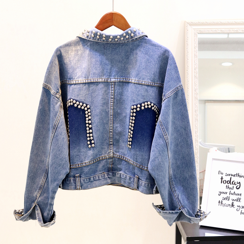 2018 Court Veste Manches Longues Manteaux La Rivet Femmes Dnim Manteau Bleu New À Mode De Jeans Heavy Lâche Duty Automne rXwxrSqB