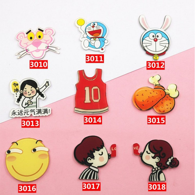 2018 New Arrival Acrylic Badge HARAJUKU Brooches for Women Pin Up Clip Scarf Collar Bag Brooch Doraemon chicken legs pins Gift