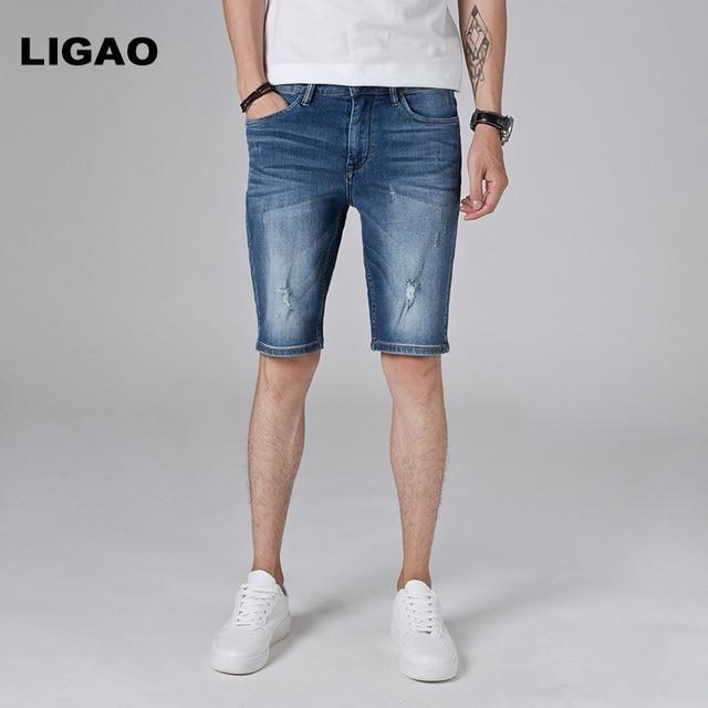 74587eafe6 LIGAO hombre Jeans 2018 pantalones cortos vaqueros de los hombres Slim Fit  Denim Short Pant Pantalones