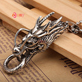 UMY Stainless Steel Link Chain Necklace Vintage Chinese Totem Dragon Pendant Dragon Charms Metal