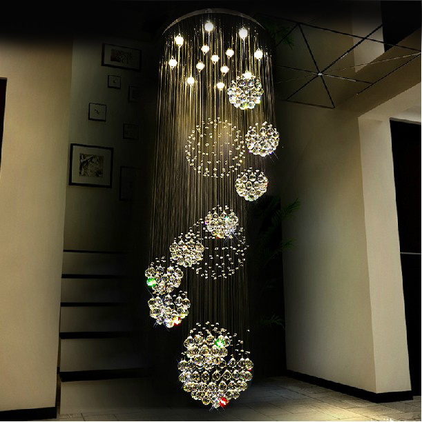 Modern Semiflush Mount 35w Led Crystal Chandelier Ceiling D80 H300cm Chandeliers Warm White