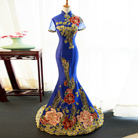 Fashion 2018 Evening Dresses Cheongsam Long Qipao Blue Chinese Traditional Dress Party Gown Summer Women Sexy Flowers