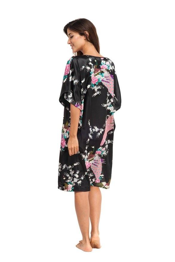 ①Rose chaud Femmes de Robe Robe de Style Chinois Imprimé chemise de ... 35f5aa07bb3
