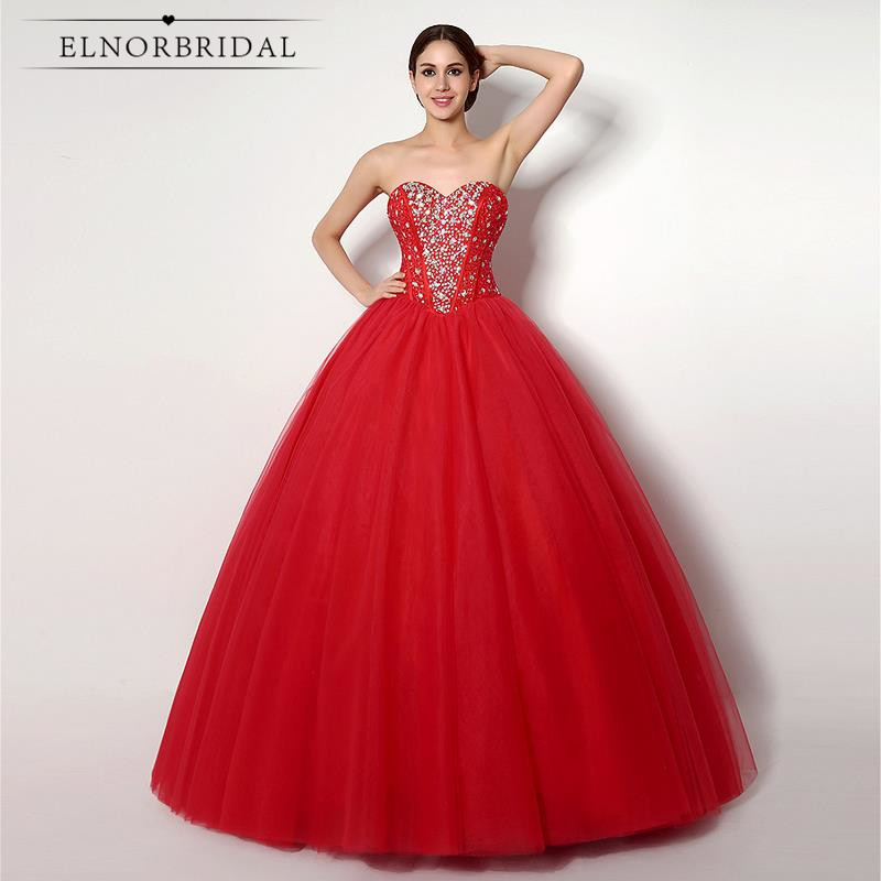 Red Wedding Dress Ball Gown 2018 Sweetheart Vestidos De Novia Corset Back Hochzeitskleid Handmade Bridal Gowns