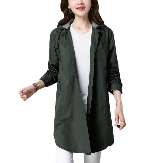 8b04de18cb9e9 Spring women trench coat 2018 new long female single-breasted windbreaker women  large size loose outerwear women hooded overcoat