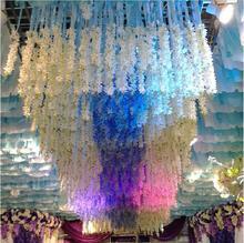 Elegant White Artificial Hanging Orchids Plants Silk Flower Vine Garland For Wedding Centerpiece Party Decoration Supplies