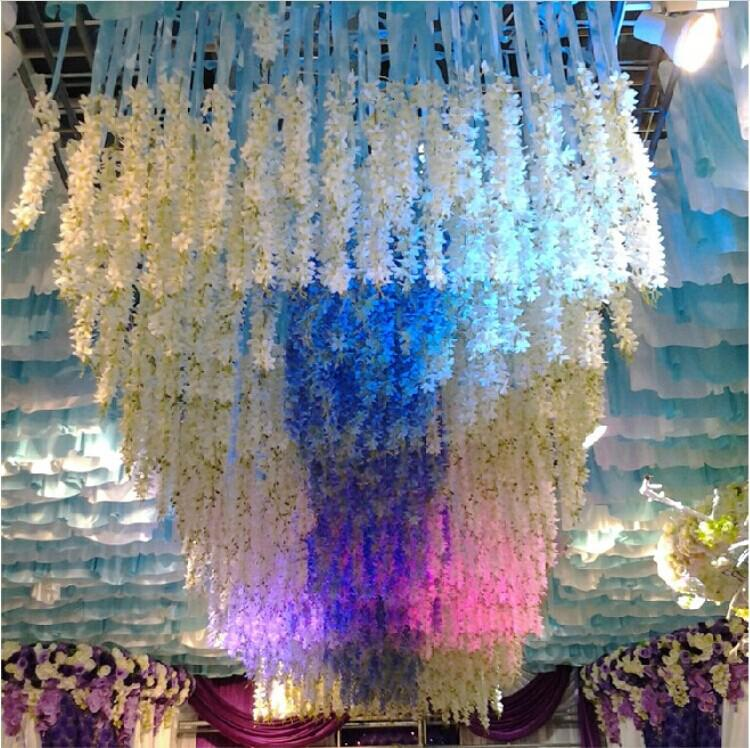 elegant white artificial hanging orchids plants silk flower vine garland for wedding centerpiece party decoration supplies - Party Decoration Stores