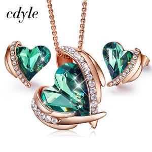 Cdyle Woman Jewelry Sets For Women Embellished with crystals from Swarovski Green Angel Necklace Earrings Set Gift For Her