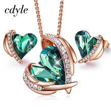 Cdyle Women Gold Jewelry Set Embellished with crystals from Swarovski Woman Jewelry Sets For Women Green Angel Necklace Earring(China)