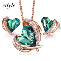 Cdyle Women Gold Jewelry Set Embellished with crystals from Swarovski Woman Jewelry Sets For Women Green Angel Necklace Earring