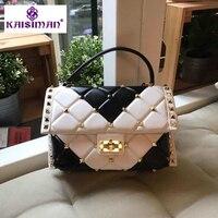 HOT Original Order Quality Tote Fashion Women's Sheepskin Handbag Brand Luxury Rivet 100% Real Leather Shoulder Bag Custom order