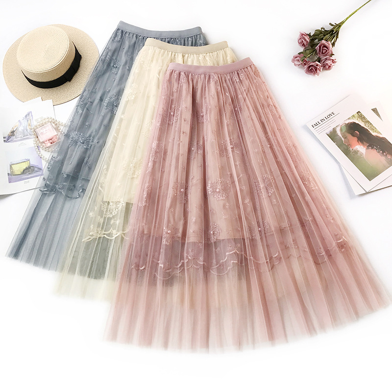Floral Embroidery Pleated Skirt High Quality Beading Lace Mesh Skirt Women Elegant Tulle Long Skirt Summer Woemn pleated Skirt
