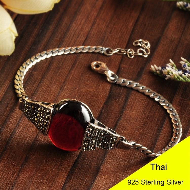 Fashion 925 Sterling Silver VintageRed Garnet & Green Agate & White Opal Chain Bracelet Women Thai Silver Gift Jewelry CH025333 все цены