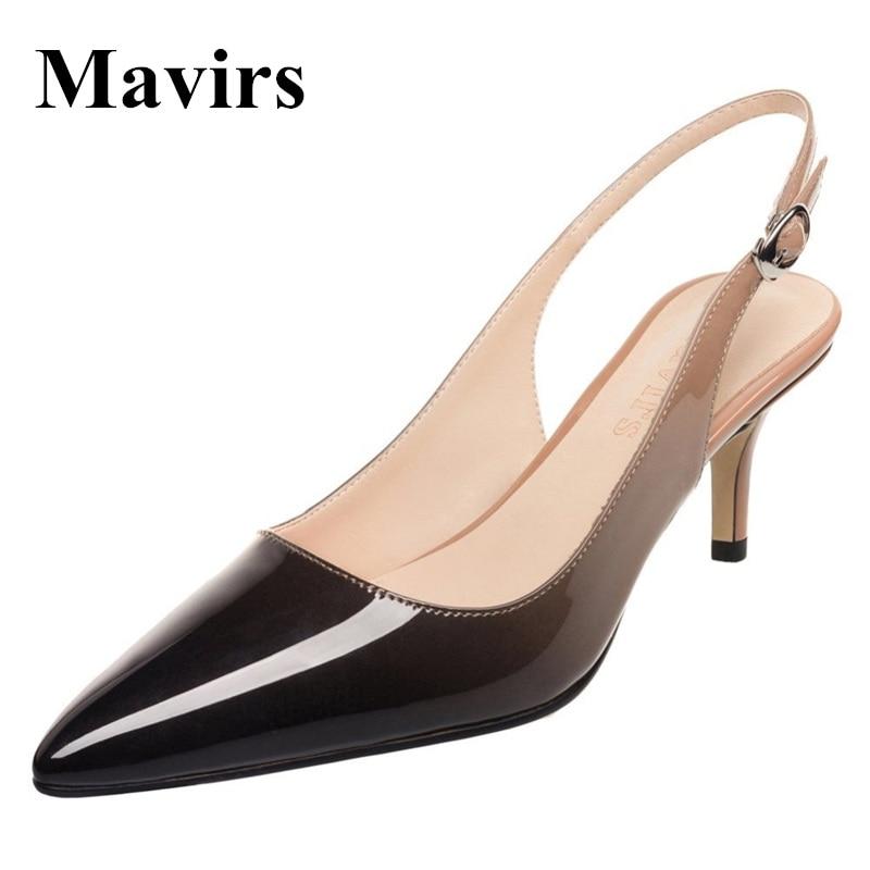 Mavirs брендовая Для женщин Высокие каблуки 2018 острый носок бежевый и черный цвета градиентные патент 6.5 см шпильке туфли из органической кожи ...