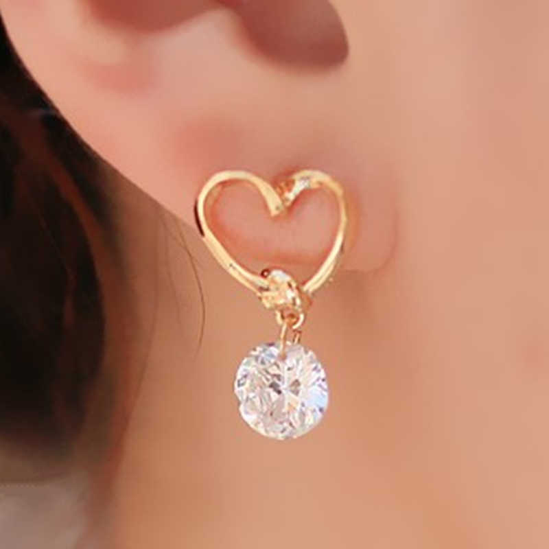 2019 New Fashion Earrings Jewelry Hot Sale Hollow Love Heart Fine Zircon Earrings For Woman Accessories Best Gift