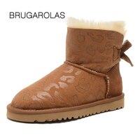 BRUGAROLAS-prawdziwa skóra Jagnięca wodoodporna 100% futro skórzane mini Dziania wełny kostki śnieżne zimy ciepłe buty dla kobiet