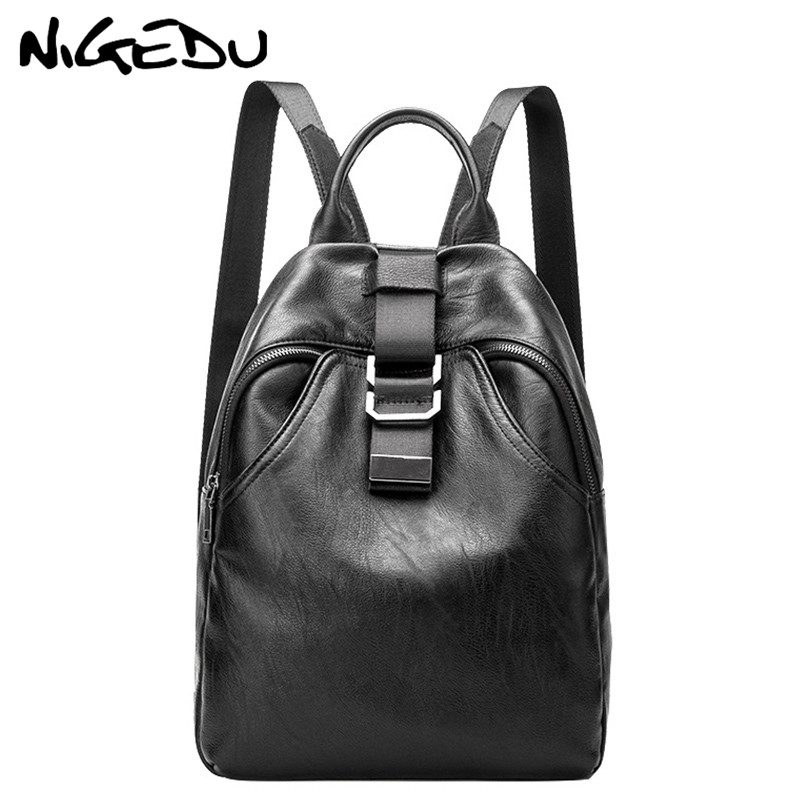 Female Leather Backpacks for Girls Teenagers Vintage Women Casual Backpack Black Travel Daypack School Bag Large Capacity mochi amasie girls school bags for teenagers bag soft pu leather women bag travel backpack daypack get0046