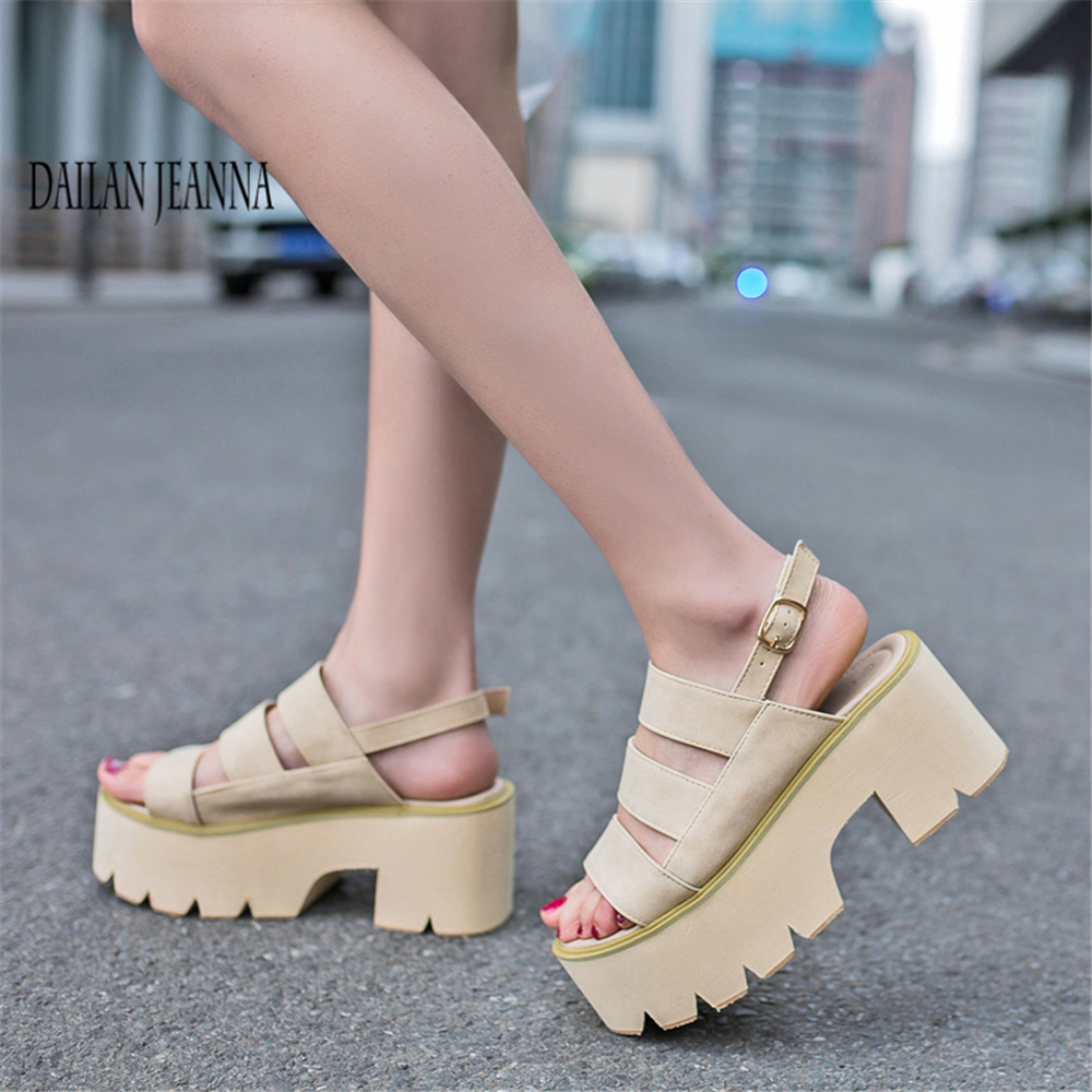 a1282213064 High heel sandals women style buckle belt waterproof platform exposed toe  height increasing thick sole sandals women   s shoes-in High Heels from  Shoes on ...