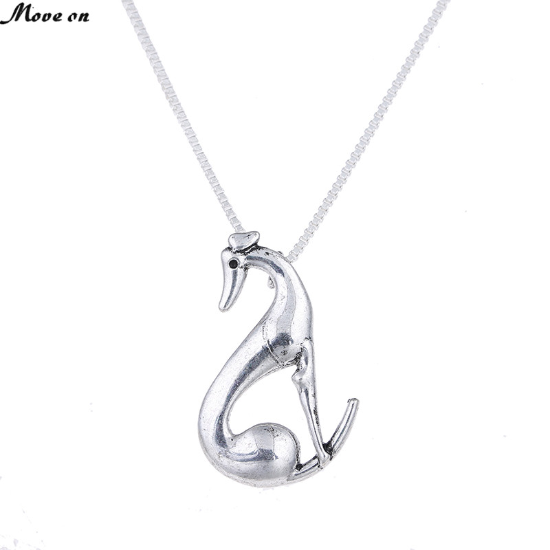 1pc Sitting Greyhound Necklace Whippet Italian Sight Hound Galgo Antique Silver Dog Pets Animal Pendants Necklaces Memorial Gift