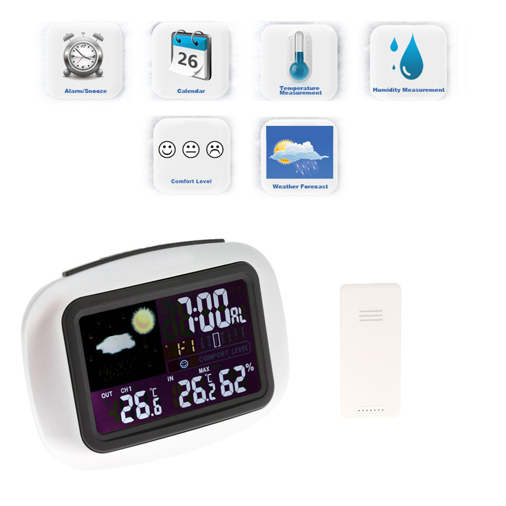 LCD Backlight Weather Station Digital Wireless Sensor Thermometer Hygrometer In/Outdoor Clock Temperature Humidity Meter