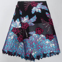 beautiful 3D flowers design good quality net tulle lace fabric appliqued lace fabric with sequins for wedding PSJUL151