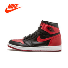 Official Nike Air Jordan 1 Retro High OG AJ1 Black Red Men's basketball  shoes Outdoor