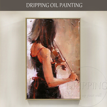 Impressionist Wall Art Hand-painted High Quality Lady Play Violin Oil Painting Figure for Study Room