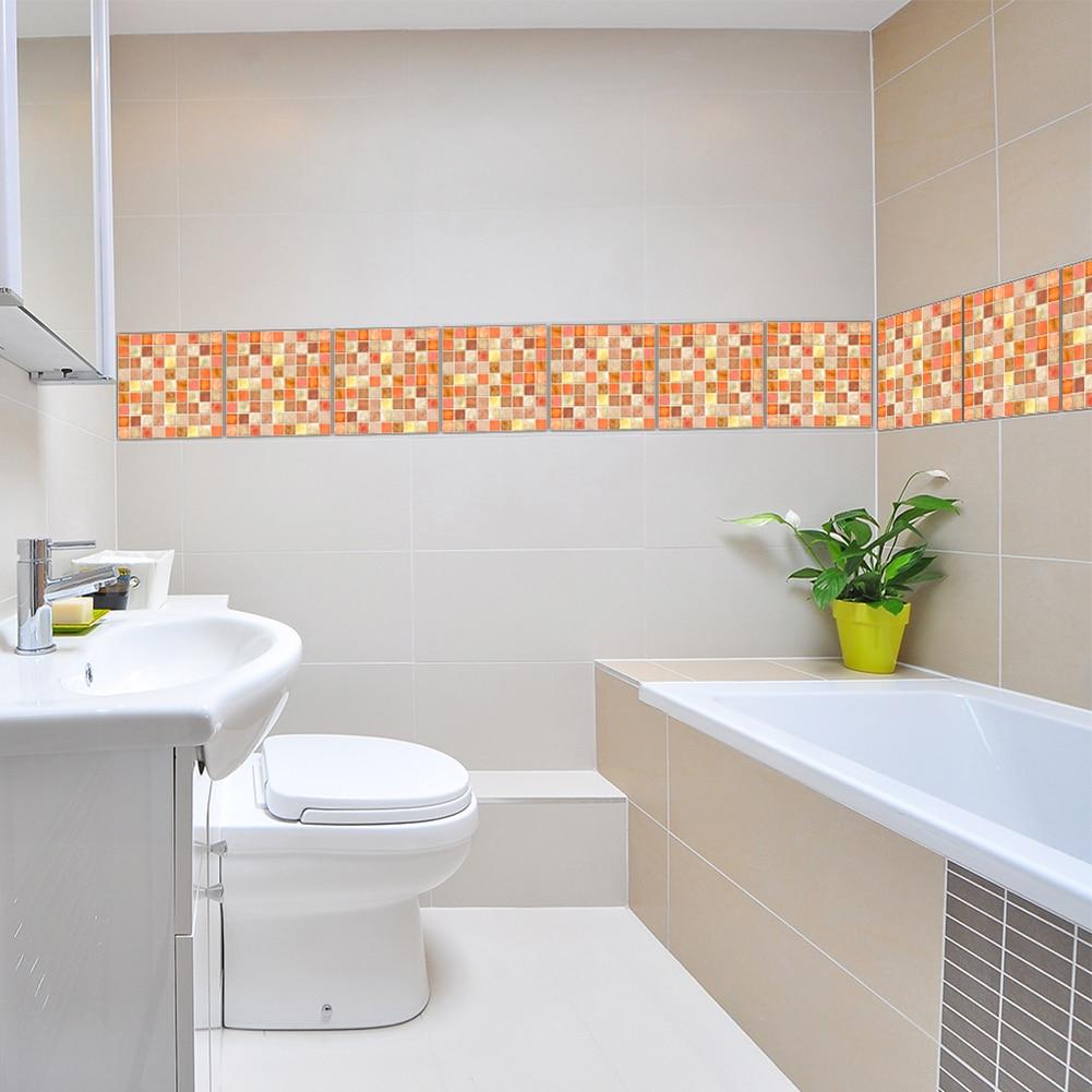Wall Stickers Orange Mosaic Retro Tile Tiles Stickers Kitchen ...