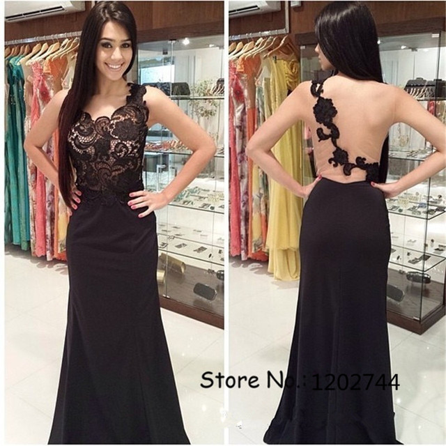 2017 Lace Top High Quality See Through Black Prom Dresses Illusion Back Evening  Dress long backless vestidos de fiesta WGL4 429d9aa9c07e