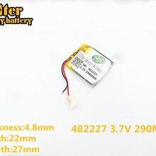 482227 3,7 в 290 мАч перезаряжаемый литий-полимерный аккумулятор для умных часов GW01 bluetooth-гарнитура 482227PL